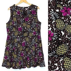 Bongo Tropical Pineapple Print Skater Mini Dress